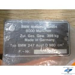 Plaque signalétique de BMW R 100 S